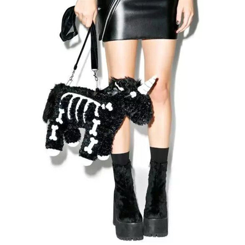 Unicorn Punk Girl Shoulder Bag Black Plush utility Handbag