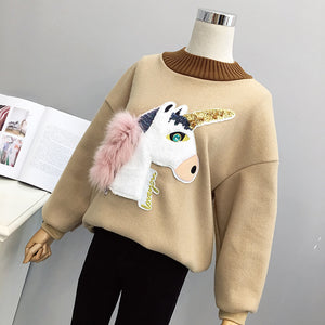 Winter Women Sweater Unicorn Sequin And Fur Long Sleeve
