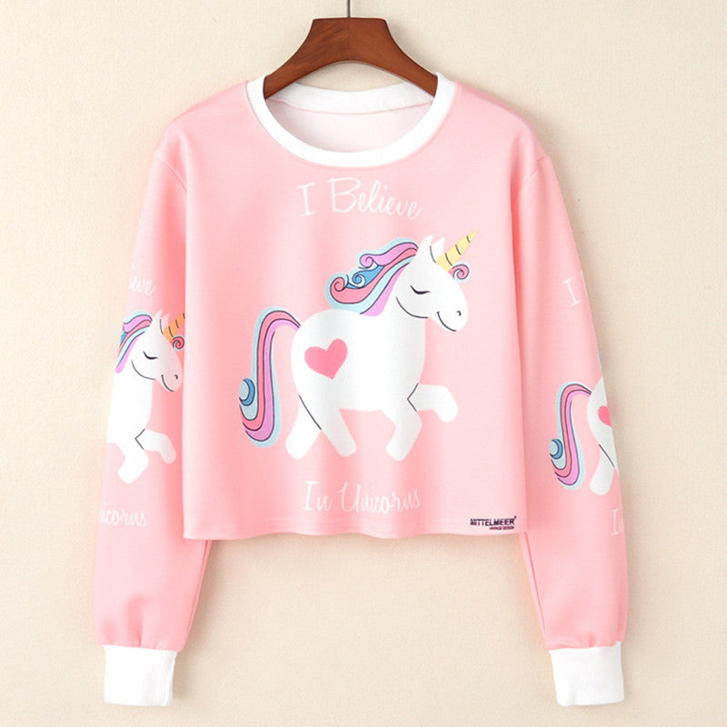 Unicorn Sweatshirt Woman - Girls crop top Cartoon