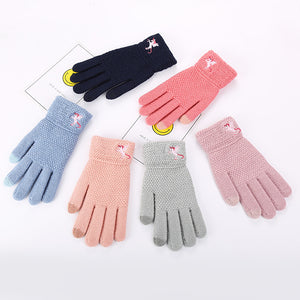 Autumn And Winter Women's Knitted Thermal Gloves Knitted Knitted Winter Outdoor Touch Screen Gloves Unicorn Embroidered Gloves