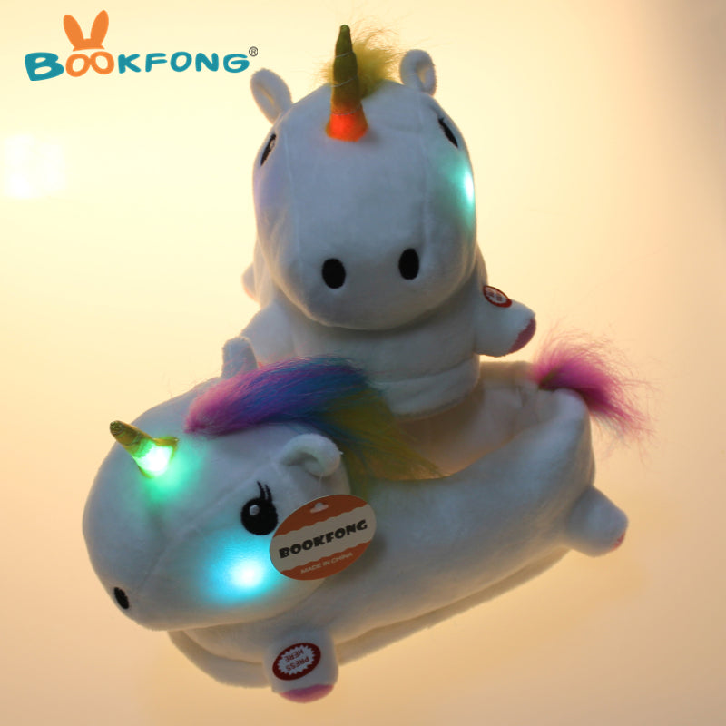 Led Unicorn Plush toy Little Girl Indoor Shoes