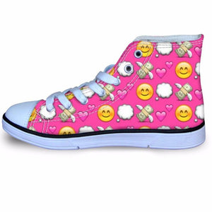 Unicorn Printing Kids Shoes High Top Flat Sneakers Cycling