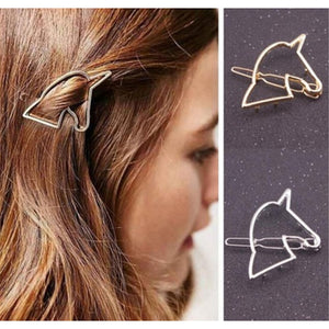 Gold Hollow Unicorn Hairpin