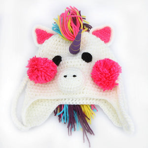 Hat Unicorn Warm Knitted Winter