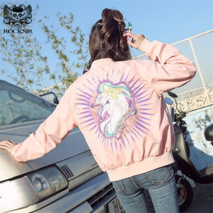 Unicorn Embroidery Bomber Jacket Women Spring Long Sleeve Basic Coat Casual Zipper Outwear Streetwear Tops Chaqueta