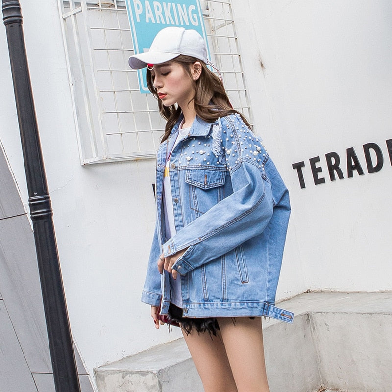 Loose Jean Jacket Unicorn- Casual Jean Jacket Women Jean Coat