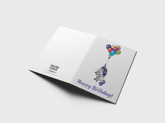 Unicorn Birthday Party Card