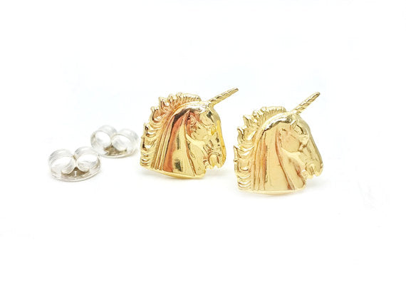 Unicorn Post Earrings -   Brass + Sterling Silver Unicorn Post Jewel