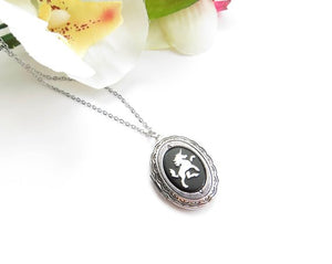 Unicorn Cameo Locket Fantasy Jewelry