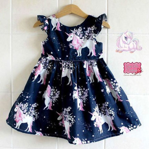 Unicorn Kid Girl dress floral printed