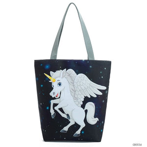 My Unicorn Cartoon Casual Women Tote Handbag
