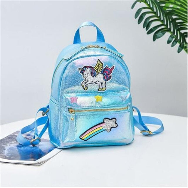 Leather Unicorn mini travel backpacks sequins