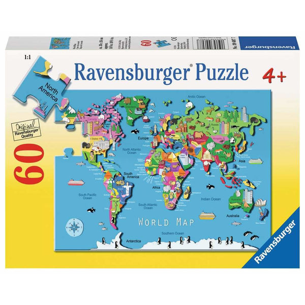Ravensburger 60 Piece Puzzle World Map 09607 canada ontario