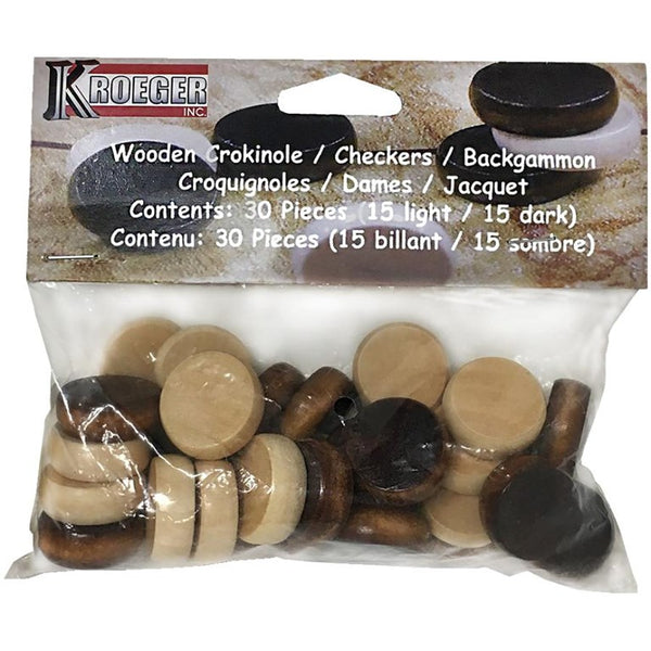 30 Piece Wooden Crokinole Checkers Backgammon canada ontario