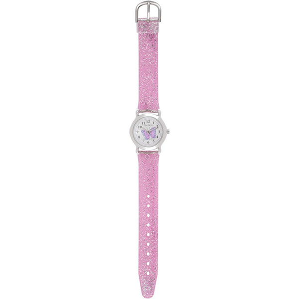 Solo Time Children's Quartz Watch Glitter Pink Papillon butterfly canada ontario