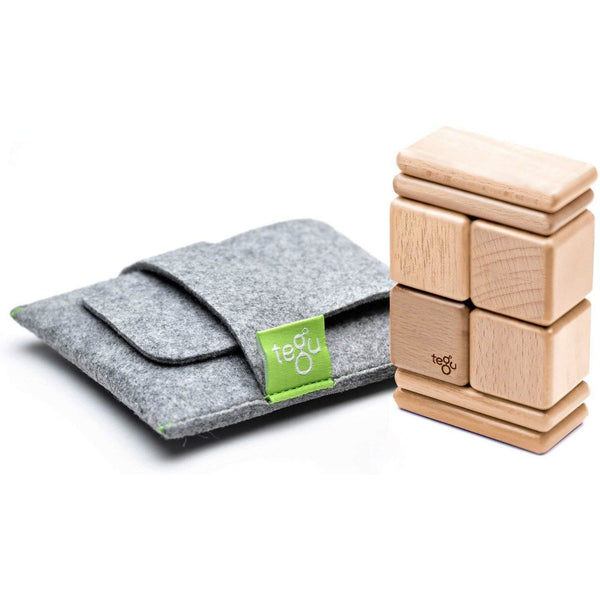 Tegu Pocket Pouch 8 Piece Magnetic Block Set Natural canada ontario sustainable wooden toys baby toddler one year