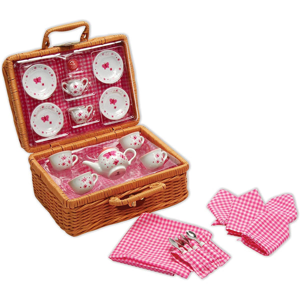 Schylling Pretend Play Butterfly Tea Set Basket