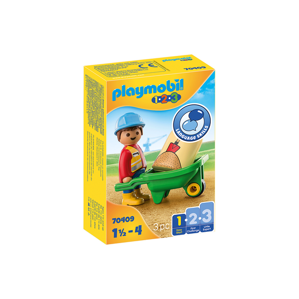 Playmobil 123 Construction Worker with Wheelbarrow 70409