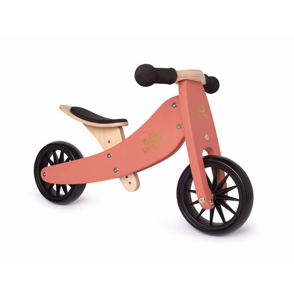 Kinderfeets Tiny Tot 2 in 1 Convertible Bike Coral wooden bike canada ontario