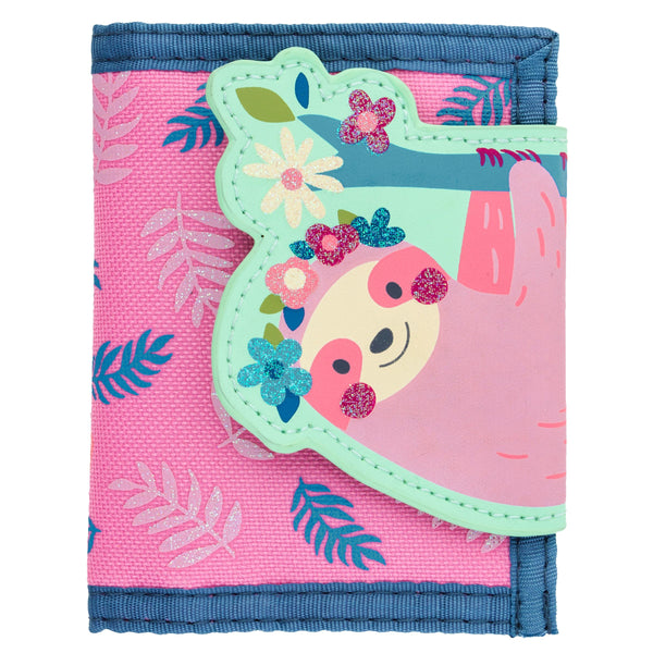 Stephen Joseph Wallet Sloth glitter kids canada ontario pink flowers