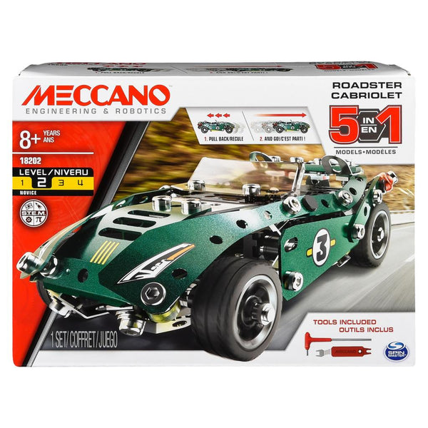 Meccano 5 Model Set Pull Back Roadster green canada ontario