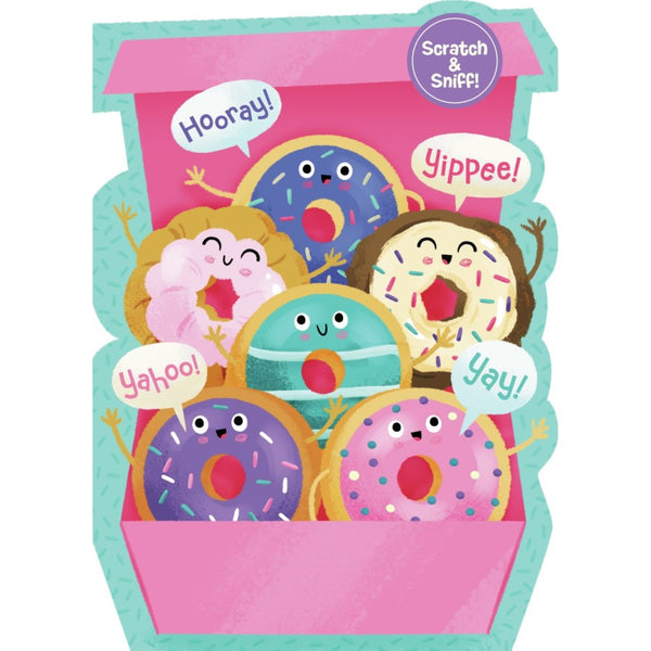 Peaceable Kingdom Birthday Card Scratch & Sniff Box of Donuts scented canada ontario