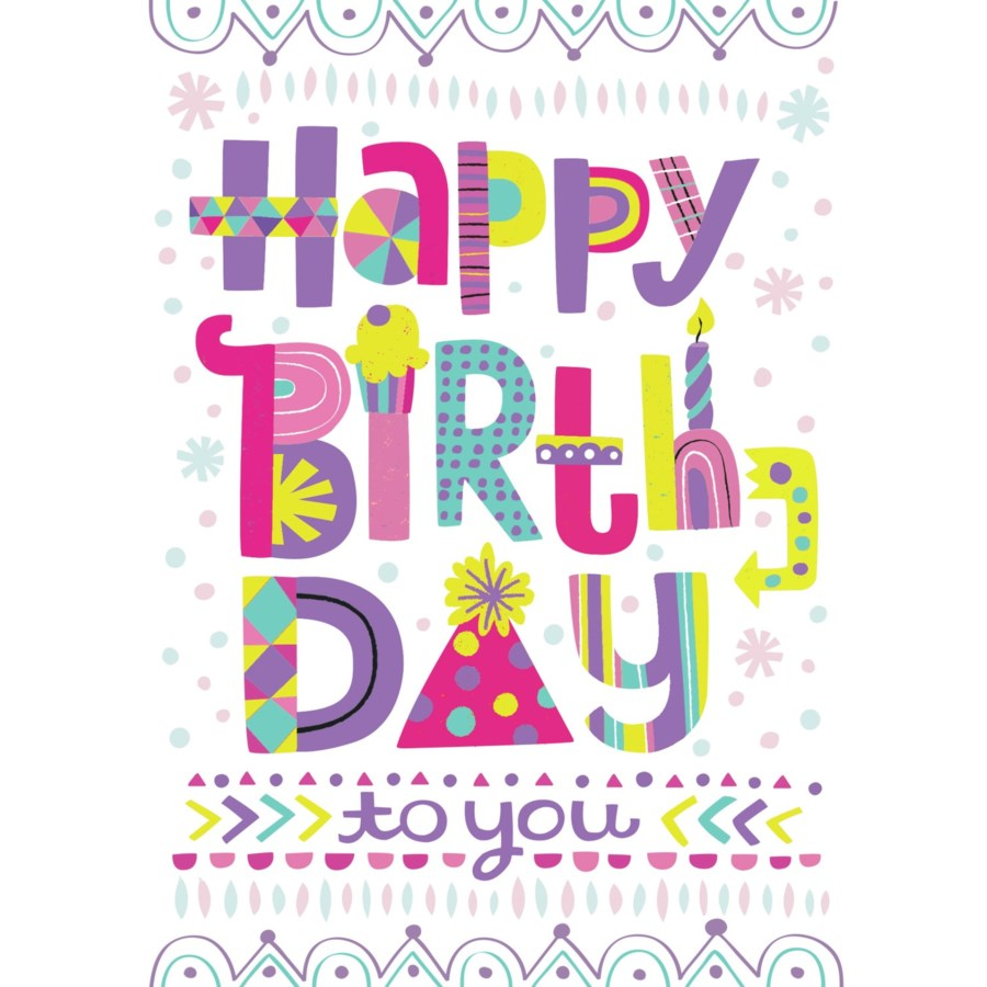Peaceable Kingdom Birthday Card Happy Birthday Lettering canada ontario purple yellow pink