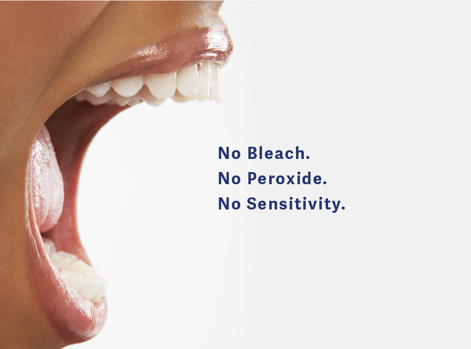 HaloSmile has no bleach, no peroxide, no sensitivity in our mineral cosmetic coating for teeth