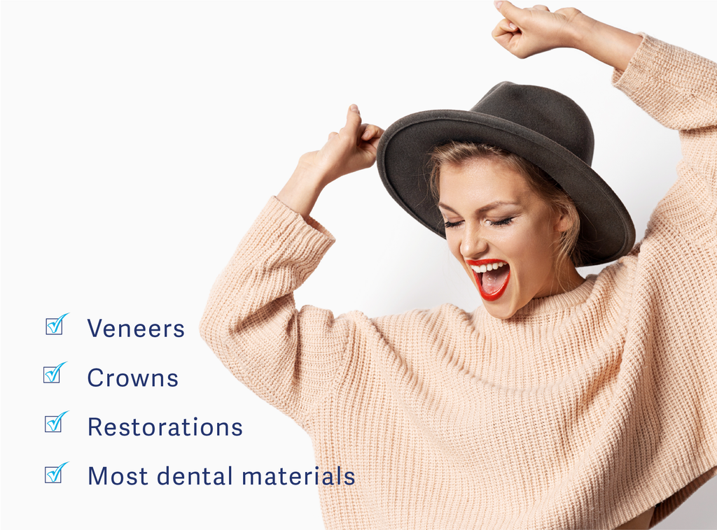 HaloSmile works on most dental materials including those with veneers, crowns, restorations, and tetracycline stains