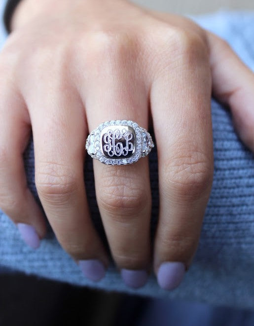 Stunning Sterling Silver Monogram Rings