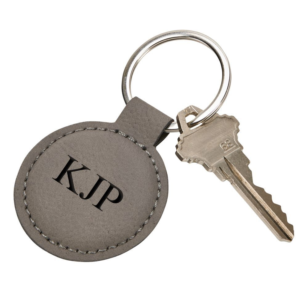 Leatherette Round Key Chain (Caramel or Grey)