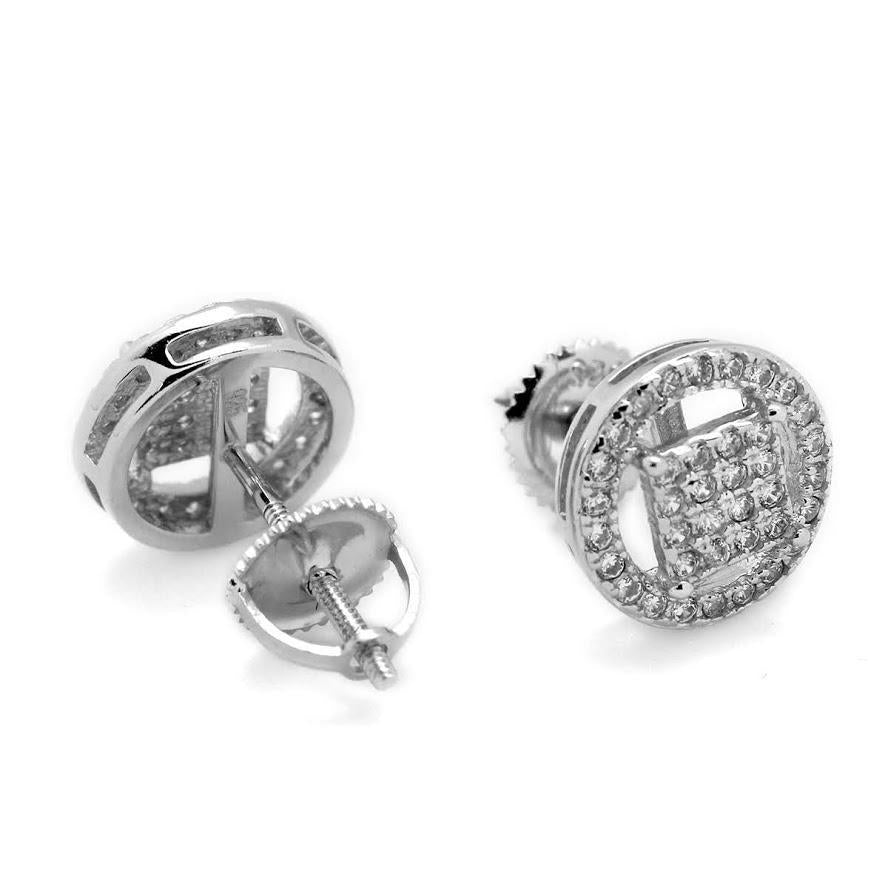 Halo square Micropave Disc Post Earrings