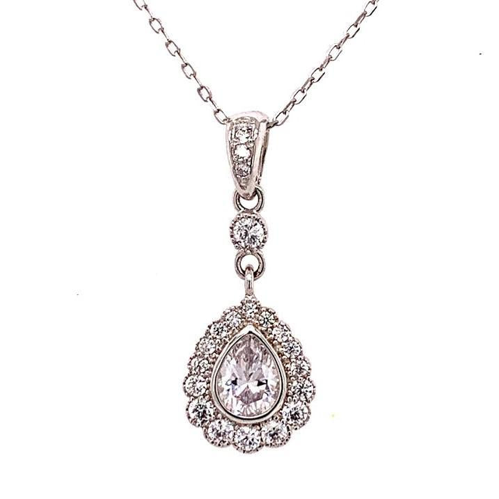 Sterling Silver Pear-Shaped Pendant Necklace - Atlanta Jewelers Supply