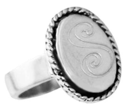 Sterling Silver Oval Vertical Engravable Ring With Rope & Braided Trim - Atlanta Jewelers Supply