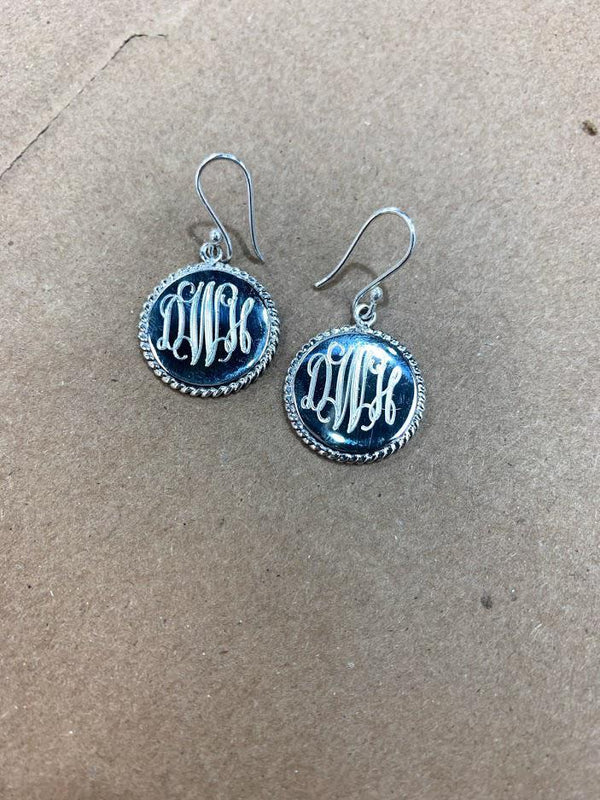 Sterling Silver Dangle ROUND  Engravable Earrings with Rope Trim - Atlanta Jewelers Supply