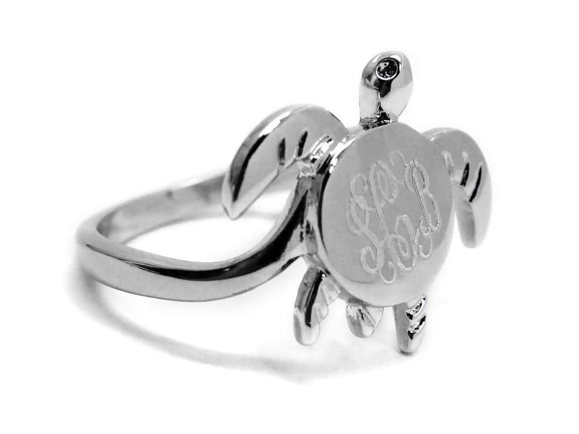 Elegant Engraved Sterling Silver  Turtle Ring - Atlanta Jewelers Supply