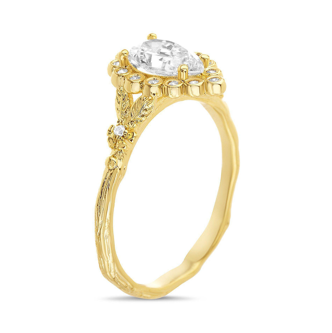 GOLD TEARDROP CZ CENTER W/ CZ BORDER FLORAL DESIGN WAVY BAND RING - Atlanta Jewelers Supply