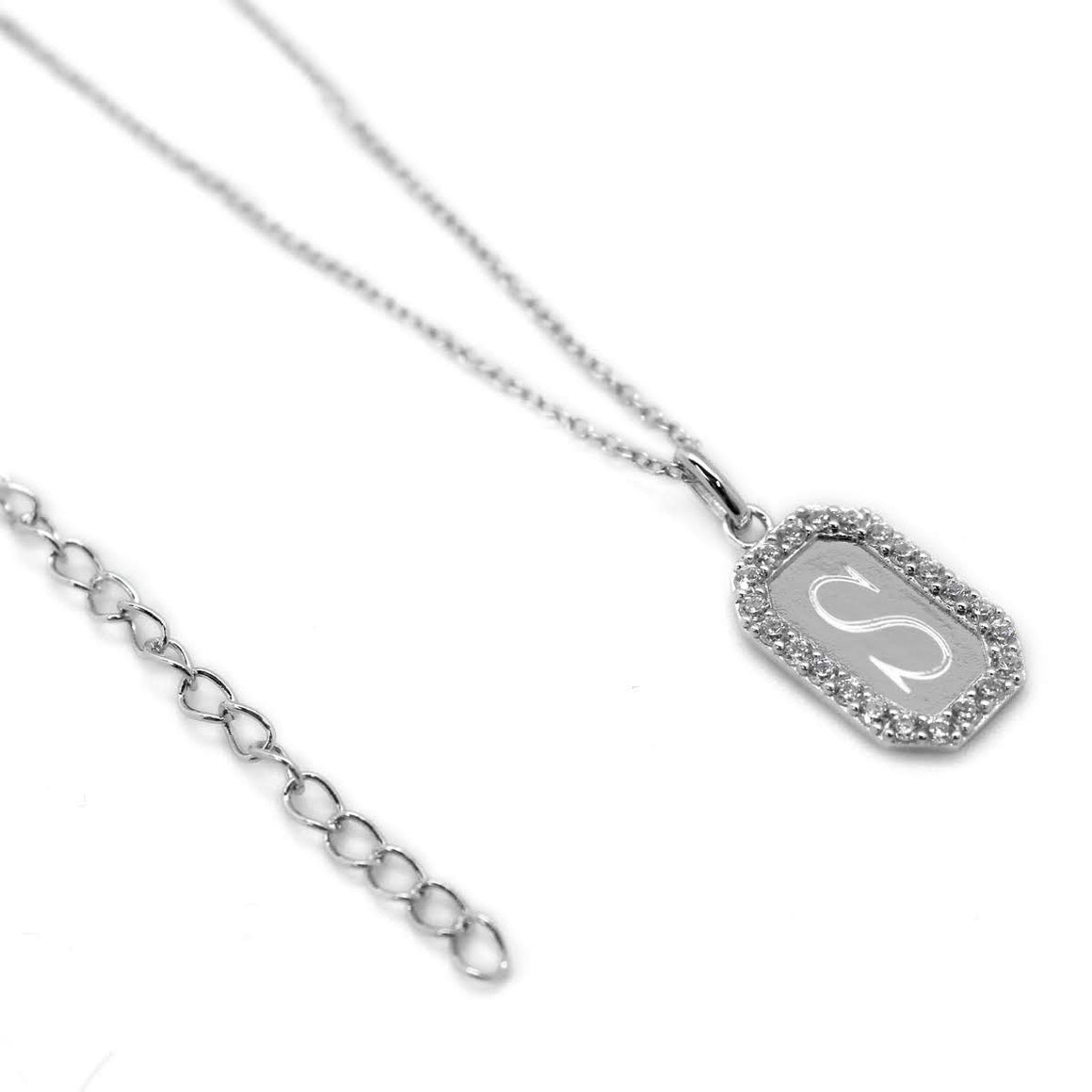 STERLING SILVER DESIGNER INSPIRED CLEAR CZ ENGRAVABLE NECKLACE