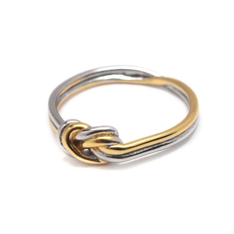 Elegant Engravable Lucy Knot Rope Sterling Silver dual tone Ring atlanta-jewelers-supply.myshopify.com