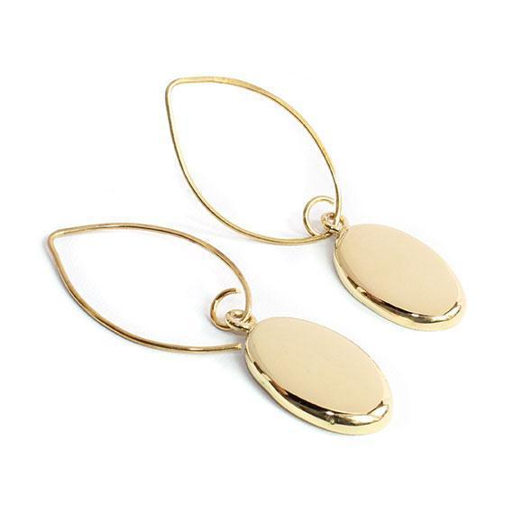 Engravable German Silver Gold Colored Oval Earrings - Atlanta Jewelers Supply