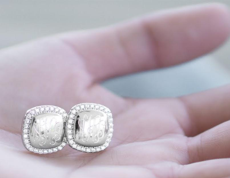 Engravable Sterling Silver Square CZ Stud Earrings atlanta-jewelers-supply.myshopify.com