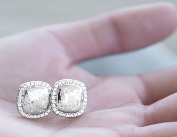 Engravable Sterling Silver Square CZ Stud Earrings - Atlanta Jewelers Supply