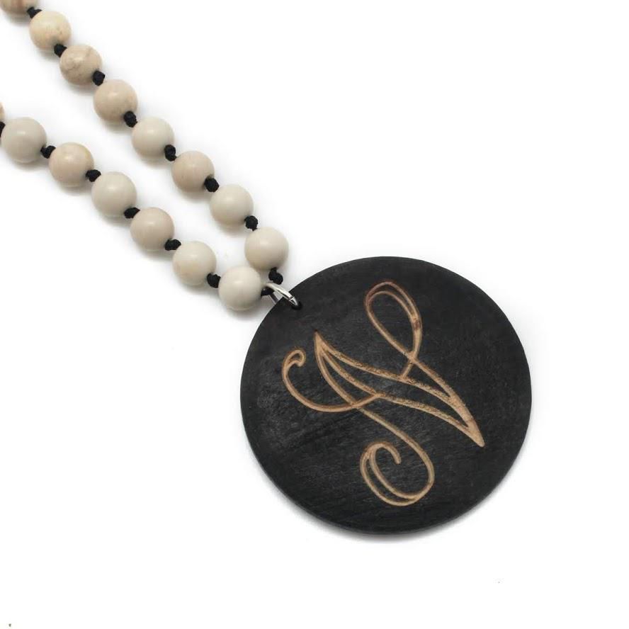 Beaded Necklace with Monogrammed SHELL/WOOD Pendant in 5 Colors - Atlanta Jewelers Supply