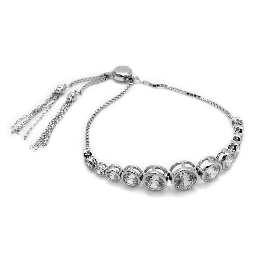 ADJUSTABLE STERLING SILVER MULTI SZIE CYLINDER CLEAR CZ BRACELET - Atlanta Jewelers Supply