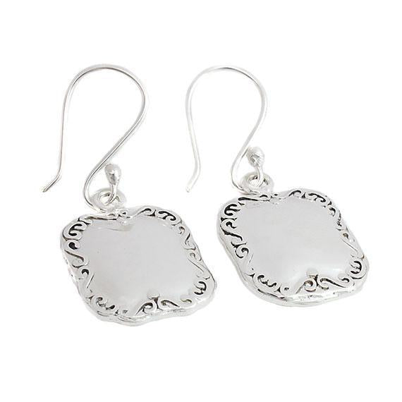 Engravable German Silver Square Earrings With Spoon Design Border - Atlanta Jewelers Supply