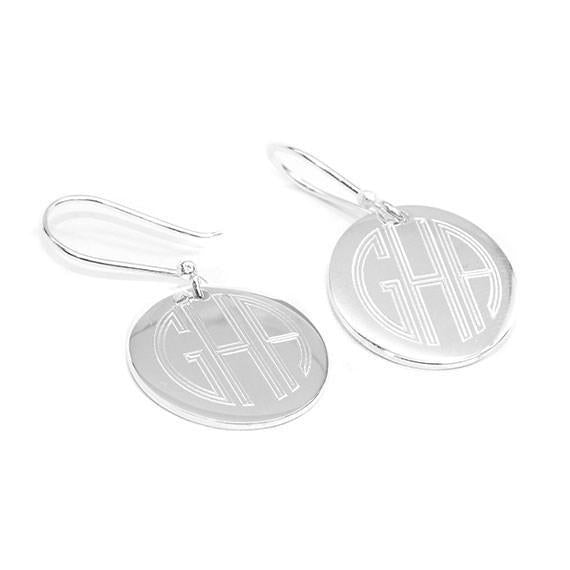 GERMAN SILVER TRENDY ROUND ENGRAVABLE EARRINGS - Atlanta Jewelers Supply