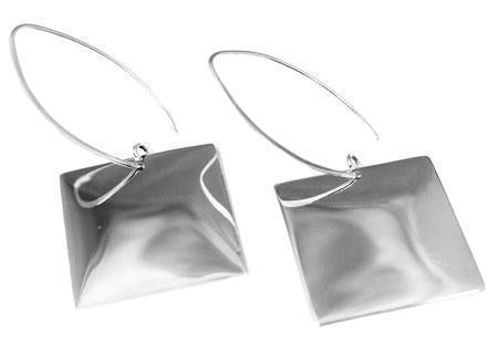 Engravable German Silver Square Long Wire Earrings