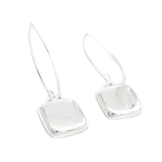 Engravable German Silver Domed Square Dangle Earrings - Atlanta Jewelers Supply
