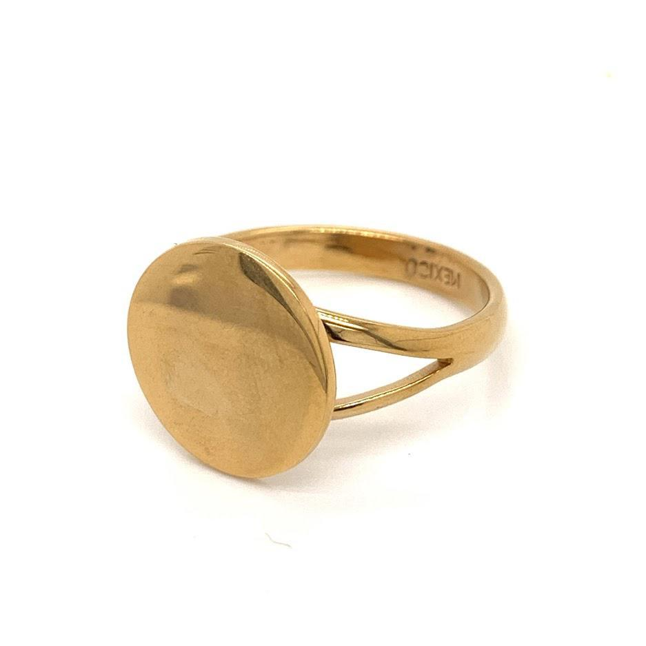 German Silver Round Engravable Ring With A Split Band gold color - Atlanta Jewelers Supply
