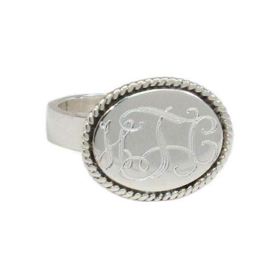 German Silver Oval Disk  Engravable Ring with Rope Border Design - Atlanta Jewelers Supply